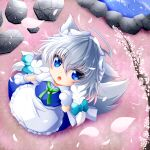 1girl :3 ahoge animal_ears apron arm_up blue_eyes blue_vest braid cherry_blossoms chibi commentary_request dog_ears dog_tail eyebrows_visible_through_hair fangs from_above gloves green_neckwear green_ribbon hair_between_eyes highres inu_sakuya izayoi_sakuya looking_at_viewer looking_up maid muumuu_(sirufuruteienn) open_mouth partial_commentary paw_gloves paws petals petals_on_liquid pond puffy_short_sleeves puffy_sleeves ribbon rock shirt short_hair short_sleeves silver_hair solo standing stepping_stones tail touhou tree_branch twin_braids vest waist_apron white_shirt