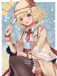 1girl :d blonde_hair blue_eyes blush bob_cut breasts brown_headwear capelet collared_shirt deerstalker detective hair_ornament hat high-waist_skirt highres holding_magnifying_glass hololive hololive_english large_breasts looking_at_viewer magnifying_glass mi_taro333 monocle monocle_hair_ornament necktie notice_lines open_mouth plaid plaid_skirt red_neckwear shirt short_hair skirt smile solo syringe syringe_holster thigh-highs trench_coat virtual_youtuber watson_amelia white_shirt wing_collar