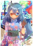 1girl ;) animal_ears bangs blue_eyes blue_hair blue_kimono brand_new_animal closed_mouth commentary_request eyebrows_visible_through_hair fang fang_out floral_print hair_between_eyes hand_up japanese_clothes kagemori_michiru kimono kouu_hiyoyo long_hair long_sleeves looking_at_viewer obi one_eye_closed print_kimono sash smile solo tail tail_raised thick_eyebrows upper_body wide_sleeves