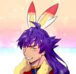 1boy animal_ears bangs bright_pupils cape champion_uniform clenched_teeth commentary_request dark_skin dark_skinned_male facial_hair fake_animal_ears fur-trimmed_cape fur_trim gen_8_pokemon korean_commentary leon_(pokemon) long_hair male_focus mera_(x7inhf3f) parted_lips pokemon pokemon_(game) pokemon_swsh portrait purple_hair rabbit_ears red_cape scorbunny shirt smile solo teeth yellow_eyes
