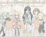 5girls :d aiueohayo0023 aqua_hair asymmetrical_sleeves azusawa_kohane black_footwear black_hair black_hoodie black_legwear black_pants black_shirt blonde_hair blue_eyes blue_hair blue_skirt bowl box brick brown_eyes brown_hair cake chair closed_eyes closed_mouth confetti counter display double_bun earrings facing_viewer food fork fruit gift green_jacket grey_shirt hair_ornament hairclip hat hatsune_miku hood hoodie hoop_earrings jacket jewelry kagamine_rin kneehighs laughing layered_skirt light_bulb meiko multicolored multicolored_clothes multicolored_hair multiple_girls navel official_alternate_costume one_eye_closed open_mouth pants party_hat pink_jacket plate plate_stack pocket pouch project_sekai ribbon shiraishi_an shirt shoes short_hair short_twintails shorts sitting skirt smile sneakers star_(symbol) star_hair_ornament stool strawberry streamers striped twintails vocaloid white_footwear