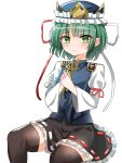 1girl balance_scale bangs black_legwear black_skirt blue_headwear blue_vest closed_mouth epaulettes eyebrows_visible_through_hair frilled_hat frills green_eyes green_hair hands_together hat highres juliet_sleeves kiui_(dagk8254) long_sleeves looking_at_viewer puffy_sleeves ribbon-trimmed_skirt ribbon_trim rod_of_remorse shiki_eiki shirt short_hair simple_background sitting skirt solo thigh-highs touhou vest weighing_scale white_background white_shirt wide_sleeves