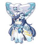 +_+ 1girl blue_eyes blue_gloves blush book chibi chinese_commentary cosplay g_gundam gloves gundam highres holding holding_book hololive hololive_china luckystarchannel master_gundam master_gundam_(cosplay) mecha_musume monocle parted_lips rosalyn_(hololive) smile solo v-fin virtual_youtuber white_background