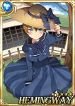 1boy angry annoyed blonde_hair blue_eyes blush carchet card_(medium) character_name child crossdressing day dress embarrassed hair_between_eyes hat hemingway_(sid_story) male_focus otoko_no_ko outdoors sid_story sky solo sun_hat younger