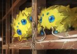 absurdres animal_focus blue_eyes brown_background bug commentary day_walker1117 eating electricity extra_eyes gen_5_pokemon highres joltik mouth_hold no_humans pokemon pokemon_(creature) wire wood