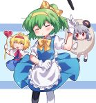 3girls alice_margatroid alternate_costume animal_ears apron bangs blonde_hair blue_dress blush bow bowtie capelet chibi closed_mouth cookie_(touhou) crown daiyousei diyusi_(cookie) dress egg_costume enmaided eyebrows_visible_through_hair full_body gloves green_hair grey_hair hair_between_eyes hair_bow hairband heart holding holding_staff ichigo_(cookie) looking_at_viewer maid medium_hair mouse_ears multiple_girls nazrin nyon_(cookie) open_mouth pinafore_dress pink_sash red_eyes red_hairband sash short_hair short_sleeves socks staff striped striped_background touhou traffic_baton waist_apron white_apron white_background white_capelet white_gloves white_legwear xox_xxxxxx yellow_bow yellow_hairband yellow_neckwear |d
