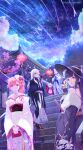 >_< 1girl 5girls absurdres architecture artist_name azur_lane bare_shoulders belfast_(azur_lane) belfast_(gorgeous_fans)_(azur_lane) black_coat black_gloves black_hair black_headwear black_kimono black_sash blue_eyes blue_sash breasts candy_apple cane center_frills cherry_blossoms chromatic_aberration closed_fan clouds coat crescent drill_hair drill_ponytail earrings east_asian_architecture fallen-leaves fan feather_boa floral_print flower folding_fan food frills from_below gloves hair_behind_ear hair_between_eyes hat hat_flower highres hime_cut holding holding_cane holding_fan holding_food holding_purse japanese_clothes jewelry kimono kimono_dress lantern large_breasts long_hair looking_at_viewer looking_to_the_side multiple_girls night night_sky off-shoulder_kimono official_alternate_costume open_mouth orange_hair paper_lantern petals peter_strasser_(azur_lane) peter_strasser_(chronos's_kalendae)_(azur_lane) red_eyes red_kimono red_sash richelieu_(azur_lane) richelieu_(evergreen_prophecy)_(azur_lane) sash shark_print shooting_star short_hair side_drill single_drill sky stairs star_(sky) tilted_headwear tirpitz_(azur_lane) tirpitz_(seasonal_pine_and_the_frost_flower)_(azur_lane) u-110_(azur_lane) u-110_(new_year_small_shark)_(azur_lane) very_long_hair violet_eyes white_gloves white_hair white_kimono wide_sleeves yellow_sash