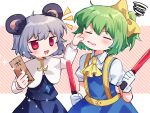 2girls :3 animal_ears ascot bangs black_skirt black_vest blouse blue_dress blush bow capelet cheek_pinching cheek_pull closed_eyes commentary_request cookie_(touhou) cowboy_shot daiyousei diyusi_(cookie) dress eyebrows_visible_through_hair gloves green_hair grey_hair hair_bow high-visibility_vest holding looking_at_another medium_hair mouse_ears multiple_girls nazrin nyon_(cookie) open_mouth pinafore_dress pinching ponytail red_eyes short_hair skirt touhou traffic_baton vest white_background white_blouse white_capelet white_gloves xox_xxxxxx yellow_bow yellow_neckwear