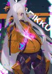 1girl alternate_costume android animal_ears character_name dyarikku_(vtuber) ex-trident floating_hair forehead fox_ears glitch grey_hair hands_in_pockets highres indie_virtual_youtuber jacket long_hair looking_to_the_side mechanical_legs one_eye_covered orange_jacket sidelocks smile solo very_long_hair virtual_youtuber