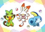 :d black_eyes bright_pupils closed_mouth commentary_request gen_8_pokemon great_ball grookey master_ball no_humans open_mouth paws poke_ball poke_ball_(basic) pokemon pokemon_(creature) punico_(punico_poke) scorbunny smile sobble starter_pokemon_trio toes tongue tooth ultra_ball