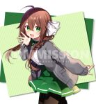 1girl :d ahoge bangs black_legwear bow braid brown_hair cardigan collared_shirt commission diagonal_stripes dress_shirt eyebrows_visible_through_hair green_background green_eyes green_skirt grey_cardigan hair_between_eyes hair_bow hair_over_shoulder hand_up hazakura_chikori highres long_hair long_sleeves looking_at_viewer open_cardigan open_clothes open_mouth original pantyhose pleated_skirt school_uniform shirt skeb_commission skirt sleeves_past_wrists smile solo striped striped_background twin_braids watermark white_background white_bow white_shirt