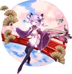 1girl aircraft artist_request bangs black_legwear blue_oath blush crossbow eyebrows_visible_through_hair fan frilled_sleeves frills gloves hair_ornament highres holding holding_weapon japanese_clothes long_sleeves multicolored_hair official_art one_eye_closed petals pom_pom_(clothes) purple_gloves purple_hair retrofit_(blue_oath) rigging smile solo thigh-highs transparent_background weapon wide_sleeves yellow_eyes zuihou_(blue_oath)