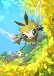 absurdres artist_name black_eyes blue_sky bug commentary cutiefly day day_walker1117 english_text eye_contact fairy field flower flower_field flying full_body gen_7_pokemon grass highres holding_hands insect_wings looking_at_another looking_back outdoors pokemon pokemon_(creature) ribombee signature sky tree wings yellow_flower yellow_theme