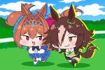 2girls animal_ears blue_dress breasts brown_eyes brown_hair chibi commentary_request commission daiwa_scarlet_(umamusume) dress fang grin hair_over_one_eye highres horse_ears horse_girl horse_tail jewelry large_breasts midriff multiple_girls navel necklace open_mouth orange_hair red_eyes rei_(rei_rr) running skeb_commission skin_fang smile tail tiara twintails umamusume vodka_(umamusume)