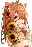 1girl bangs bare_shoulders bell blush brown_hair brown_sweater closed_mouth collarbone commission eyebrows_visible_through_hair facial_mark flower glasses hair_flower hair_ornament hair_over_one_eye hand_up hazakura_chikori highres long_hair long_sleeves looking_at_viewer off-shoulder_sweater off_shoulder original ponytail red-framed_eyewear red_eyes semi-rimless_eyewear simple_background skeb_commission sleeves_past_wrists smile solo sunflower sweater under-rim_eyewear upper_body watermark white_background yellow_flower