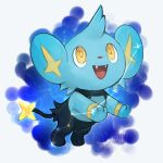 animal_focus artist_name blue_background commentary constellation day_walker1117 english_commentary english_text fangs gen_4_pokemon happy highres jumping looking_up no_humans open_mouth pokemon pokemon_(creature) shinx signature smile solo space star_(sky) twitter_username yellow_eyes