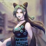 1girl absurdres artist_request black_hair blue_eyes double_bun dress green_eyes green_hair hair_cones halter_top halterneck highres holding_hands japanese_clothes jojo_no_kimyou_na_bouken kujo_jolyne lipstick looking_at_viewer makeup midriff multicolored_hair navel_piercing piercing smile solo stone_ocean two-tone_hair