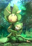 1girl :> absurdres antennae arthropod_girl artist_name blank_eyes blue_sky carrying closed_mouth colored_skin commentary day day_walker1117 english_text fangs flat_chest forest full_body gen_5_pokemon grass green_theme highres holding holding_pokemon leavanny nature o_o outdoors pokemon pokemon_(creature) red_eyes sewaddle signature sitting sky tree white_eyes yellow_skin yokozuwari