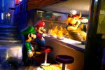 3boys absurdres big_nose blue_eyes blue_overalls bowser brown_hair chef_hat english_commentary facial_hair fangs fire flame food from_side gazedsoul gloves green_headwear green_shirt hat highres horns luigi mario mario_(series) multiple_boys mustache overalls red_eyes red_headwear redhead shirt short_hair sitting standing white_gloves