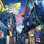 1girl absurdres alley blue_hair blue_scarf door glasses highres illustration.media original outdoors parachute profile red_ribbon ribbon scarf solo striped striped_scarf tao_(tao15102) twilight upper_body wide_shot window