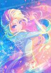 1girl berryverrine blonde_hair blue_eyes blush elsa_(frozen) frozen_(disney) frozen_ii_(disney) hand_up highres illustration.media long_hair long_sleeves petals smile snowflakes solo upper_body