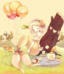 1girl air_bubble balloon bare_shoulders blonde_hair blue_hairband bottle bow bread bubble closed_eyes coco_(hinatacoco) collarbone cup curly_hair detached_sleeves doughnut fish flower food forehead frilled_hairband frills full_body grass hair_flower hair_ornament hairband leg_hug log medium_hair mermaid monster_girl octopus original plate seaweed solo teacup teapot teaspoon tray twitter_username underwater yellow_background
