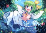 1girl :d apple ascot bangs black_footwear blouse blue_dress blue_eyes blush collared_blouse daiyousei dress eyebrows_visible_through_hair fairy_wings food fruit full_body green_hair hair_between_eyes hair_ribbon looking_at_viewer mary_janes medium_hair open_mouth outstretched_arm pantyhose petticoat pinafore_dress ponytail red_apple ribbon shoes smile solo spread_fingers symbol_commentary touhou tree white_blouse white_legwear wings xox_xxxxxx yellow_neckwear yellow_ribbon