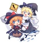 ! 2girls bangs black_capelet black_eyes black_footwear black_gloves black_headwear black_shirt black_skirt blonde_hair blue_eyes blush blush_stickers bow braid bright_pupils capelet cookie_(touhou) elbow_gloves eyebrows_visible_through_hair fish full_body gloves hair_bow hat hat_bow holding holding_shovel kirisame_marisa looking_at_viewer mary_janes meguru_(cookie) multiple_girls open_mouth purple_bow red_bow shirt shoes short_hair shovel side_braid sign simple_background single_braid skirt sleeves_past_wrists socks touhou tuna warning_sign white_background white_legwear white_pupils witch_hat xox_xxxxxx yuuhi_(cookie)