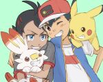2boys antenna_hair arm_around_shoulder ash_ketchum bangs baseball_cap black_hair blue_eyes blue_jacket brown_eyes commentary_request eye_contact eyelashes gen_1_pokemon gen_8_pokemon goh_(pokemon) green_background grey_shirt hat highres holding holding_pokemon jacket looking_at_another male_focus multiple_boys nunuka one_eye_closed pikachu pokemon pokemon_(anime) pokemon_(creature) pokemon_swsh_(anime) scorbunny shirt short_sleeves simple_background sketch sleeveless sleeveless_jacket smile starter_pokemon t-shirt white_shirt