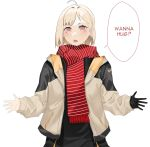 1girl bangs beige_jacket black_gloves black_shirt blonde_hair blush english_text eyebrows_behind_hair gloves hair_behind_ear highres kuroi_enpitsu looking_at_viewer open_mouth original outstretched_arms red_eyes red_scarf scarf shirt short_hair single_glove solo speech_bubble striped striped_scarf