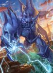 clenched_teeth clouds commentary_request duel_monster electricity highres leaning_forward legs_apart obelisk_the_tormentor outdoors red_eyes rock sky solo spareribs spire standing teeth twilight wading water yu-gi-oh!