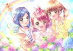 3girls :3 :d bangs blue_eyes blue_hair blue_shirt blue_sky brown_eyes brown_hair brown_jacket bug butterfly day drawstring eyebrows_visible_through_hair flower hanadera_nodoka hand_on_another's_shoulder healin'_good_precure highres hiramitsu_hinata hood hood_down hoodie insect jacket latte_(precure) medium_hair multiple_girls nyatoran_(precure) open_mouth outdoors pegitan_(precure) pink_hoodie pointing precure rainbow red_eyes redhead sawaizumi_chiyu shirt side-by-side sky smile standing striped striped_shirt sunlight swept_bangs touki_matsuri twintails yellow_hoodie