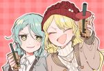 2girls aran_sweater bang_dream! beanie blonde_hair bright_pupils bubble_tea closed_eyes commentary_request green_eyes hand_up hat hikawa_sayo holding itomugi-kun jewelry kirigaya_touko long_sleeves looking_at_viewer multiple_girls necklace open_mouth pink_background plaid plaid_background red_headwear shirt smile sweater upper_body white_pupils