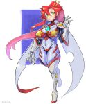 1girl bangs bodysuit boots breasts cape covered_navel full_body hair_between_eyes hair_ornament hair_stick hand_up highres large_breasts long_hair multicolored multicolored_bodysuit multicolored_clothes oomasa_teikoku parted_lips ponytail redhead solo space_yoko tengen_toppa_gurren_lagann thigh-highs thigh_boots very_long_hair walking white_footwear yellow_eyes yoko_littner