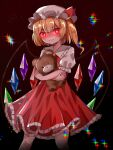 +_+ 1girl ascot bangs black_background blonde_hair bow closed_mouth cowboy_shot crossed_arms crystal flandre_scarlet hat hat_bow highres holding holding_stuffed_toy kiui_(dagk8254) looking_at_viewer medium_hair mob_cap red_bow red_eyes red_skirt red_vest shaded_face shirt short_sleeves side_ponytail simple_background skirt smile solo standing star_(symbol) stuffed_animal stuffed_toy teddy_bear touhou vest white_headwear white_shirt wings yellow_neckwear