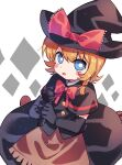 1girl bangs black_capelet black_gloves black_headwear black_skirt black_vest blonde_hair blue_eyes blush bow bowtie braid bright_pupils capelet cookie_(touhou) elbow_gloves eyebrows_visible_through_hair full_body gloves hat hat_bow holding holding_microphone kirisame_marisa looking_at_viewer meguru_(cookie) microphone open_mouth red_bow red_neckwear short_hair single_braid skirt solo touhou vest white_pupils witch_hat xox_xxxxxx