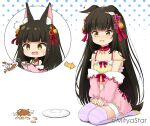 1girl ^^^ animal_ear_fluff animal_ears arrow_(symbol) azur_lane bangs bare_shoulders black_hair blush bow brown_eyes chibi collarbone commentary_request dropping ears_down eyebrows_visible_through_hair flower food fox_ears fox_girl fox_tail fur-trimmed_shorts fur_trim hair_flower hair_ornament halftone halftone_background hands_on_lap jacket long_sleeves miicha nagato_(azur_lane) no_shoes off_shoulder open_mouth pink_jacket plate puffy_long_sleeves puffy_sleeves red_bow red_flower rice seiza shadow short_shorts shorts sitting sleeves_past_wrists soles striped striped_legwear tail tears thigh-highs twitter_username wavy_mouth white_background yellow_eyes yellow_shorts