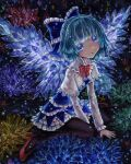 1girl :o adapted_costume alternate_wings bangs between_legs black_legwear blue_bow blue_dress blue_eyes blue_hair blunt_bangs blush bow bowtie capelet cirno commentary_request crystal dress eyebrows_behind_hair flat_chest frilled_bow frills hair_bow hand_between_legs ice ice_wings kabaji layered_skirt leaning_forward long_sleeves open_mouth pantyhose petticoat red_footwear red_neckwear short_hair sitting skirt solo touhou traditional_media wariza white_capelet wings