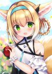 1girl :d animal_ear_fluff animal_ears apple arknights bare_shoulders black_choker black_gloves blonde_hair blue_background blush braid choker colored_tips food fox_ears fruit gloves green_eyes hairband highres holding holding_food holding_fruit infection_monitor_(arknights) looking_at_viewer miwa_uni multicolored_hair open_mouth oripathy_lesion_(arknights) outdoors single_glove smile solo suzuran_(arknights) twin_braids two-tone_hair upper_body white_hair wrist_cuffs