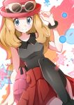 1girl black_legwear black_shirt blush bracelet closed_mouth collared_shirt commentary_request eyelashes grey_eyes hand_up hat highres jewelry light_brown_hair looking_at_viewer miyama-san pink_bag pink_headwear pleated_skirt pokemon pokemon_(game) pokemon_xy red_skirt serena_(pokemon) shirt skirt sleeveless sleeveless_shirt smile solo star_(symbol) sunglasses thigh-highs white-framed_eyewear