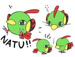 bird character_name closed_eyes closed_mouth commentary_request creature full_body gen_2_pokemon highres kiwi_of_ruin korean_commentary looking_at_another natu no_humans pokemon pokemon_(creature) sideways_glance simple_background standing talons white_background