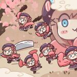 6+girls :3 anger_vein bangs beret blue_eyes blush bow cardigan cherry_blossoms chibi clone clouds commentary_request fan flexing hair_ornament hat hatchet heart heart_print holding holding_weapon multiple_girls nijisanji open_mouth oriental_hatchet pink_cardigan pongari pose shirt skirt striped striped_skirt suzuhara_lulu virtual_youtuber weapon x_hair_ornament zoom_layer