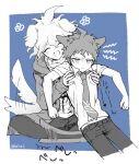 2boys :d ahoge angry animal_ears bangs blue_tail blush breast_pocket cat_boy cat_ears cat_tail collarbone collared_shirt danganronpa_(series) danganronpa_2:_goodbye_despair dog_ears dog_tail grabbing grabbing_from_behind haizai happy highres hinata_hajime hood hood_down indian_style komaeda_nagito long_sleeves looking_at_viewer male_focus messy_hair multiple_boys necktie open_mouth pants pocket print_shirt school_uniform shirt short_hair short_sleeves sitting smile tail tail_wagging twitter_username