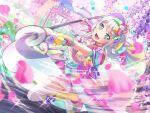 bang_dream! blush dress green_eyes grey_hair short_hair smile wakamiya_eve yukata