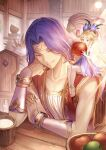 1girl 3boys anklet apple barefoot bishounen blonde_hair blue_dress blue_flower blurry blurry_background bowl brown_eyes chair clenched_hand collarbone cup dress duran_(seiken_densetsu_3) eating elbow_rest faerie_(seiken_densetsu_3) fairy_wings flower food fruit fruit_bowl glint hair_flower hair_ornament hand_on_own_arm hand_on_own_cheek hand_on_own_face hawkeye_(seiken_densetsu_3) holding holding_food indoors jewelry kevin_(seiken_densetsu_3) lamp looking_at_viewer looking_down minigirl multiple_boys on_chair on_shoulder open_mouth plate plate_stack pointy_ears purple_hair red_vest ring see-through_dress seiken_densetsu seiken_densetsu_3 shirt sitting sitting_on_person sitting_on_shoulder sleeping sleeveless sleeveless_shirt sparkle table tenyo0819 upper_teeth vambraces vest white_shirt wings wooden_chair wooden_table zzz