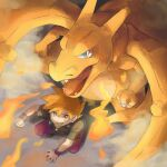 1boy bangs black_shirt blue_eyes blue_oak charizard claws clenched_hand clenched_teeth commentary_request fangs fire from_above gen_1_pokemon highres jewelry looking_up male_focus necklace open_mouth orange_eyes orange_hair pants pokemon pokemon_(creature) pokemon_(game) pokemon_frlg purple_pants purple_wristband shirt shoes short_sleeves smile spiky_hair squatting teeth tongue torinoko_(miiko_draw) wristband
