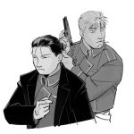 2boys 2cko aiguillette amestris_military_uniform arm_at_side bags_under_eyes beard black_coat black_eyes black_hair blue_eyes cigarette closed_mouth coat collared_jacket cropped_torso expressionless facial_hair facing_away facing_viewer fullmetal_alchemist gloves greyscale gun hair_slicked_back hand_up handgun hands_up holding holding_gun holding_weapon jacket jean_havoc looking_afar male_focus military military_uniform monochrome mouth_hold multiple_boys parted_lips pistol roy_mustang shiny shiny_hair simple_background spot_color uniform weapon white_background white_gloves