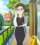 1girl black_hair blue_eyes blue_sky blush bow bowtie breasts error eyebrows_visible_through_hair glasses hand_on_eyewear hat highres logo looking_at_viewer mcdonald's mop rimless_eyewear road screencap short_hair short_sleeves sign sky smile solo tree uniform utility_pole warning_sign