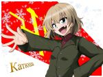 1girl bangs blonde_hair blue_eyes bob_cut character_name commentary_request cyrillic emblem eyebrows_visible_through_hair fang girls_und_panzer green_jacket hand_on_hip insignia jacket katyusha_(girls_und_panzer) kirisaki_reina long_sleeves looking_at_viewer open_mouth outstretched_arm partial_commentary pravda_(emblem) pravda_school_uniform red_shirt russian_text school_uniform shirt short_hair smirk snowflake_background solo turtleneck upper_body v-shaped_eyes