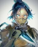 1girl apex_legends bangs black_gloves blue_eyes bodysuit floating_hair gloves hair_behind_ear hair_bun holding holding_knife kawaniwa knife kunai looking_at_viewer mask mouth_mask parted_bangs solo upper_body weapon white_bodysuit wraith_(apex_legends)